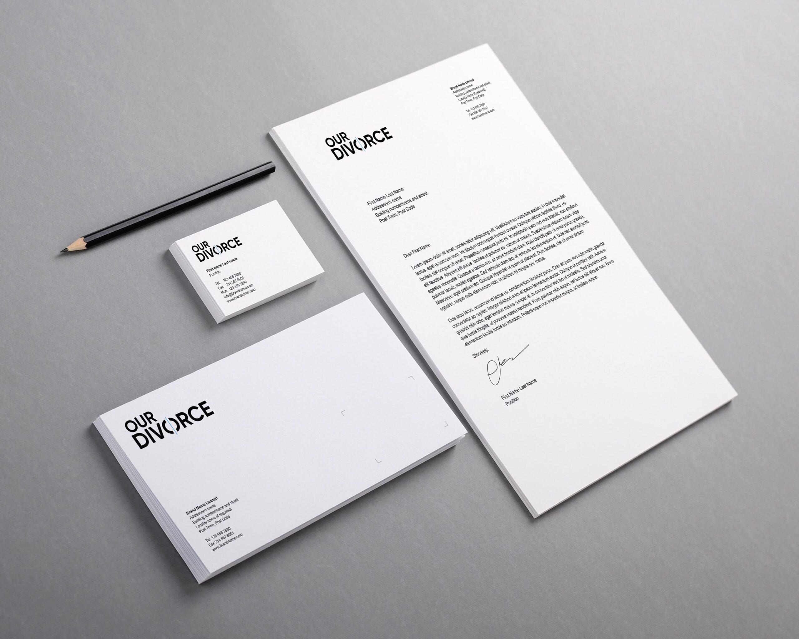 OurDivorce brand materials mockup