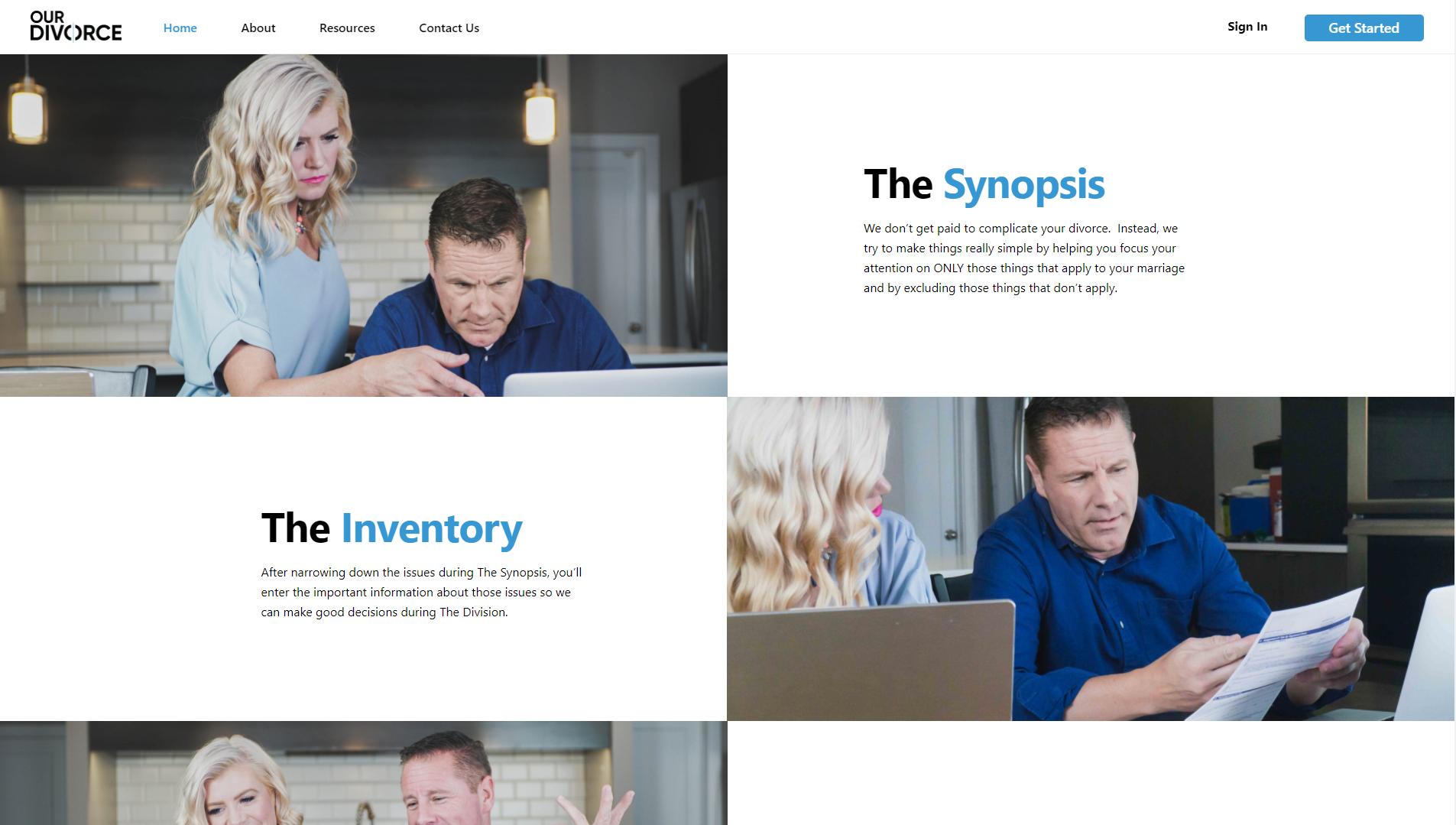 OurDivorce Bottom half of homepage design